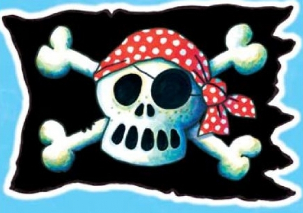 Fensterbild Piratenflagge A4 - Kinderparty-Onlineshop.de