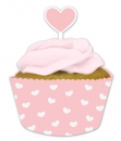 Herz Cupcake wrapper + Picker (rosa)