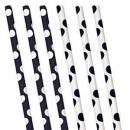 Papier Trinkhalme Black-White Dots (10)