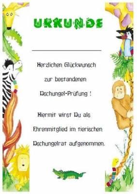 Urkunde Dschungelparty - Kinderparty-Onlineshop.de