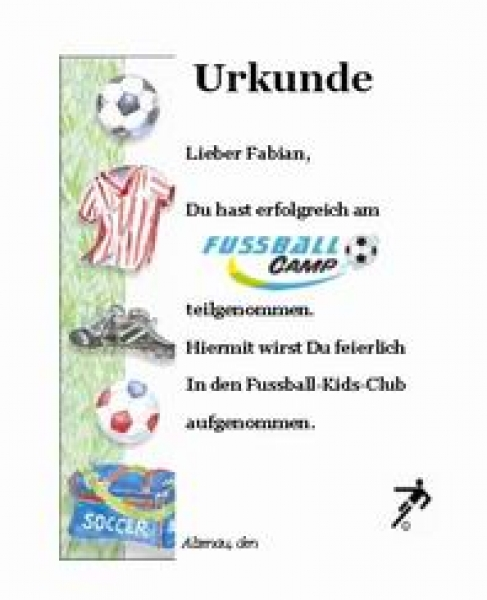 Urkunde Fussballparty