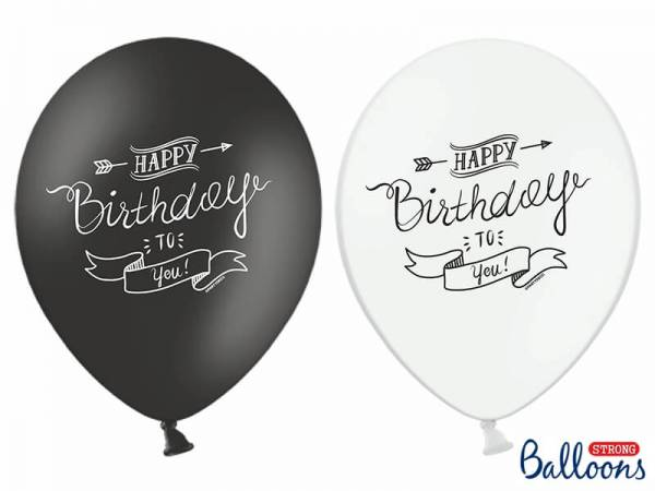 Luftballons Happy Birthday black and white (6 Stück)