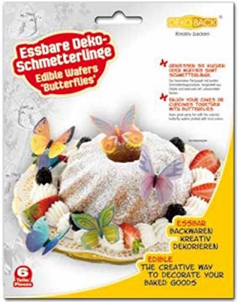 Kuchen Deko Schmetterlinge (6 Stück essbar)