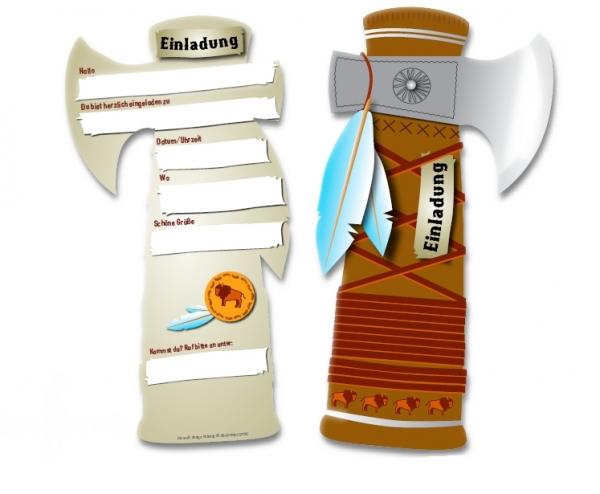 44f09d522c830c Einladung Indianer Tomahawk (6 Stück)